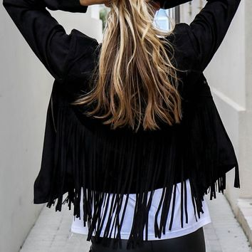 Fringe Factor Black Suede Moto Jacket