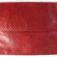 "~~~ MAJOR GASP ~~~ VINTAGE FENDI ""TEXTURED"" HUGE RED ENVELOPE CLUTCH/BAG ~~"