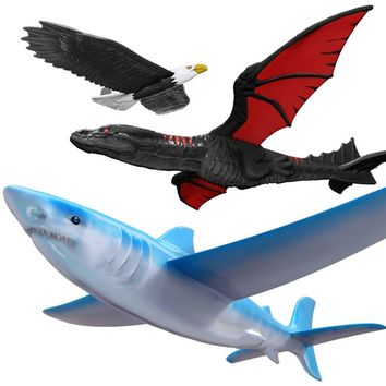 Hand Launch Throwing Glider Aircraft Inertial Foam Glider Shark Eagle Fly Dragon Model Outdoor Sports Flying Toy For Kids Gift