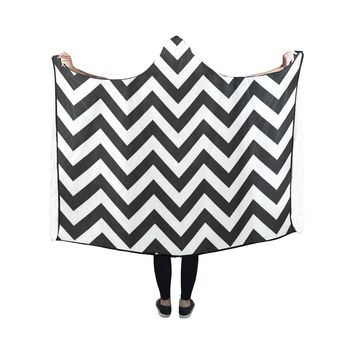Hooded Blanket Stripe Chevron 50x40 Inch