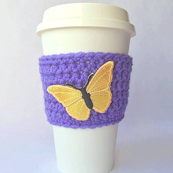 Coffee Cozy // Coffee Cup Cozy // Crochet Coffee Cozy // Crochet Butterfly Coffee Cozy // Coffee Cozies // Butterfly Coffee Cozy // Cup Cozy