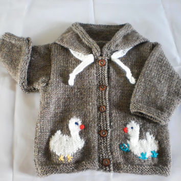Baby Cardigan Hoodie Ducks Cardigan Hand Knitted 0 mths- 2yrs