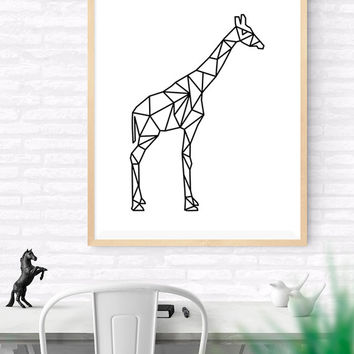 Geometric giraffe, Origami Art, Printable wall art, Geometrical Animal print, giraf Art Print, Modern giraf Art, Nursery kids Art, Woodlands