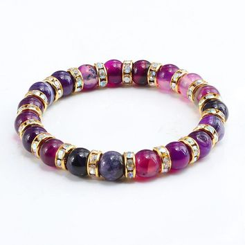 2018 Women Handmade Charm Bracelet Crystal Onyx Stone Beads Bracelets Vintage Purple Onyx Natural Stone Jewelry Accessories Men