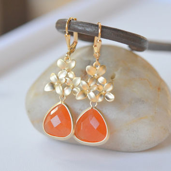 Burnt Orange Teardrop and Gold Cherry Blossom Dangle by RusticGem