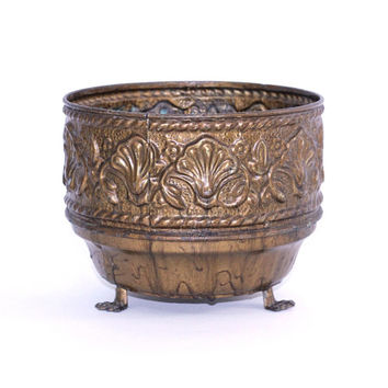 Vintage Brass Planter Pot Made in England | Ornate Plant Holder with Raised Designs and Claw Feet | Gold Pot for Holding Potted Plants