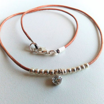 Brown Leather Choker Necklace, Thin Choker, Rhinestone Necklace Choker, Diamond Crystal Choker, Small Bead Necklace, Delicate Dainty Choker