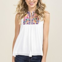 Blair Embroidered Yoke Drop Ruffle Sleeveless Top