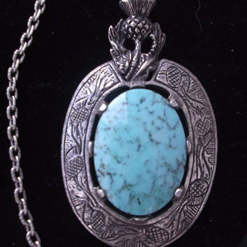 Stunning vintage signed Miracle faux turquoise stone pendant and chain