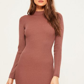 Missguided - Pink Basic High Neck Mini Jumper Dress
