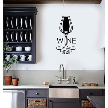 Vinyl Decal Wall Sticker Home Decor for Kitchen Wine Glass Bar Mural Unique Gift (g093)