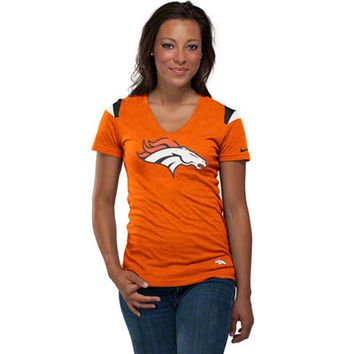 Denver Broncos Women's Orange Nike Fashion V-Neck T-Shirt
