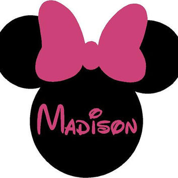 Minnie Mouse Ears Name PERSONALIZED 26x24 Vinyl Wall Lettering Words Quotes Decals Art Custom