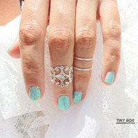 3 Cute Knuckle Ring Set -  Knuckle Rings - Stacking Ring, Stacking Rings,  Midi Ring - Silver Ring - Midi Rings - Rings