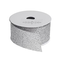 Princess Glitter Metallic Christmas Ribbon, 1-1/2-Inch, 4 Yards, Silver