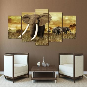 African Elephants with large tusks wall art on canvas panel wall room decor