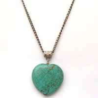 Antiqued Brass Green Turquoise Necklace by gemandmetal on Etsy