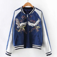 Fashion hot embroidery Baseball uniform bird print coat blue white