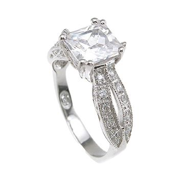 Plutus Brands 925 Sterling Silver Rhodium Finish CZ Princess Antique Style Wedding Ring- Size 6