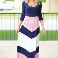 Pink and Navy Chevron Maxi Dress with 3/4 Sleeves