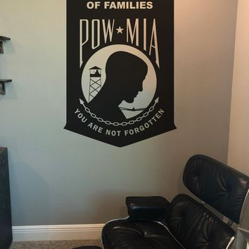 Prisoner Of War * Missing In Action. We are not Forgotten. POW MIA Military Wall Decal. #317