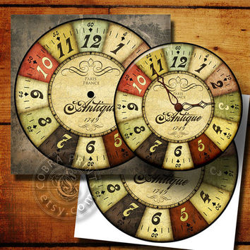 "Vintage Style DIY Large Clock Face - 12""x12"" Digital Sheets CP-277 - Printable Image - Wall Decor - Crafts - jpg and png - Instant Donwload"