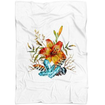 Tiger Lily Bouquet v3 - Fleece Blanket