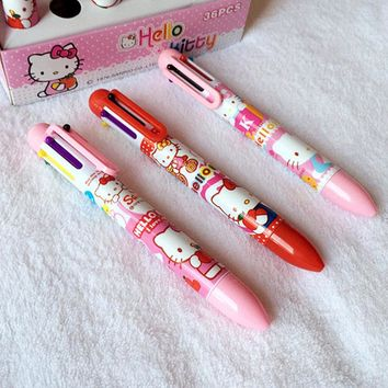 1X Cute Kawaii Hello Kitty 6 Color Press Ballpoint Pen Office School office Supply Pens Signing Drawing Pen Kids Stationery Gift