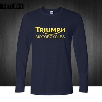 PEAPYV3 Classic TRIUMPH MOTORCYCLES T Shirt Men 100% Cotton printed long Sleeve O neck Good Quality T-shirt Top Tees New Autumn