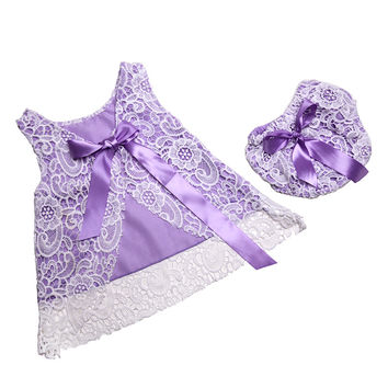 Rustic Baby Girls Clothing Set ,Lace Swing Top Set ,Summer Newborn Bloomer Set ,Lace Pattern Baby Clothes with bow