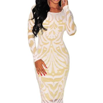 Chicloth White Plus Victorian Net Nude Illusion Long Sleeves Dress