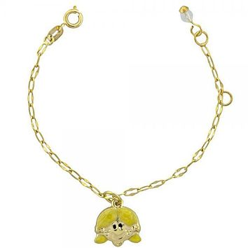 Gold Layered 03.16.0009 Charm Bracelet, and Little Girl with White Crystal, Yellow Enamel Finish, Golden Tone