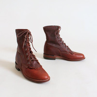 Vintage Justin Brown Leather Fringe Ankle Boots
