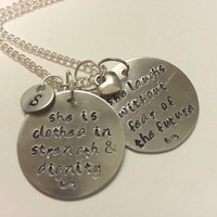 Bible Verse Necklace, Proverbs 31:25 She is Clothed in Strength and Dignity Necklace, Personalized Hand Stamped Christian Necklace