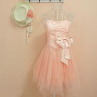 Sweet Sequined Bow Dress Pink