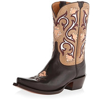 Lucchese Womens Mid Shaft Leather Cut-Out Cowboy, Western Boots