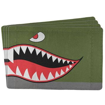 PEAPGQ9 Halloween WWII Flying Tiger Fighter Shark Nose All Over Placemat (Set of 4)
