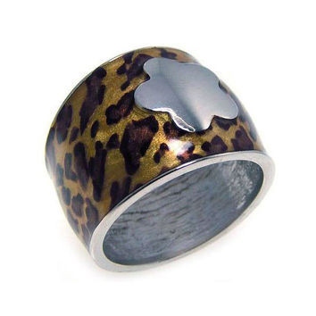 .925 Sterling Silver Rhodium Plated Leopard Print Spot Flower Ring: Size:5