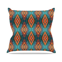 "Anne LaBrie ""Diamond Sea"" Blue Orange Throw Pillow"