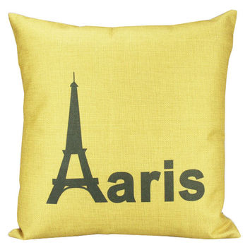 New Yellow France Paris Eiffel Tower Home Decorative Thick Cotton Linen Pillow Case Cushion Cover 18'' 45CM