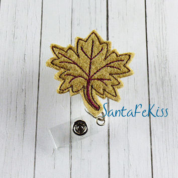Leaf Felt ID Badge Holder with retractable reel
