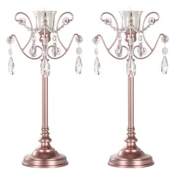 2-Piece Metal Candlestick Candelabra Set with Glass Crystals (Rose Gold)
