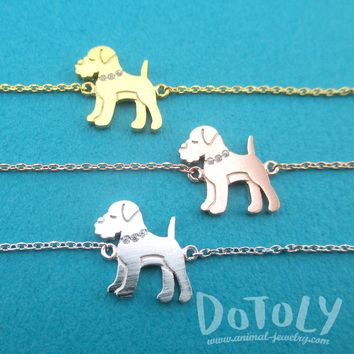 Schnauzer Puppy Dog Shaped Charm Bracelet in Silver Gold or Rose Gold