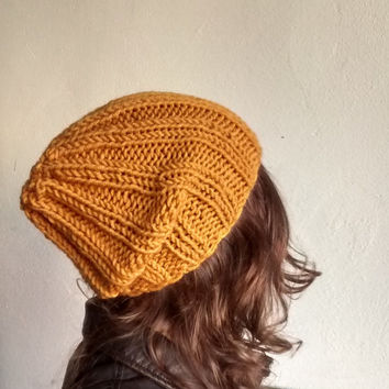 Slouchy Hat Yellow Knit Hat Fall Trends Beanie Hat Unisex Gift Womens Knit Hats Slouch Beanie Winter Accessories Mens Hat Fashion Clothing