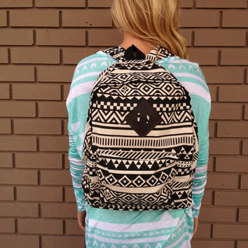 Aztec Print Backpack- Black