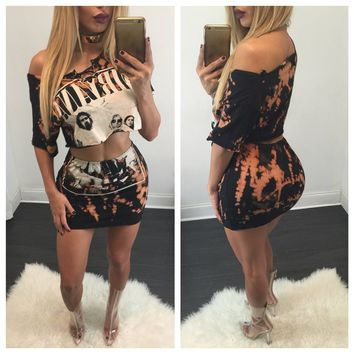 Print One Shoudler Crop Top with Bodycon Skirt Two Pieces Dress Set