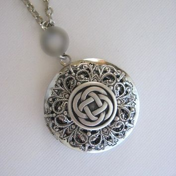 LOCKETS FLOWER OF LIFE IRISH JEWELRY ANTIQUE SILVER