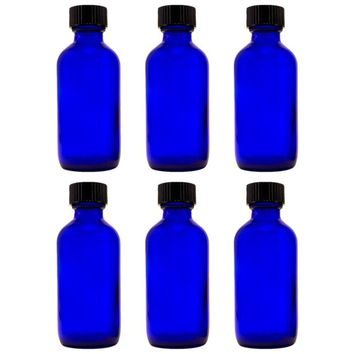 Cobalt Blue Glass Boston Round Bottle with Cap - 2 oz. (Pack of 6)