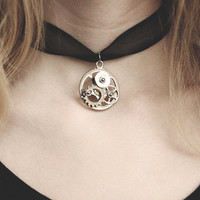 Steampunk Clock Gear Choker Necklace