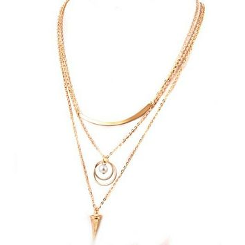 Gold Triple Layered Bar and Ring Long Necklace